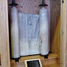 The Sun Lakes Jewish Congregation participated in the Czech Memorial Scroll Trust Workshop and brought scroll No. 77 that was originally from Kolodeje.
