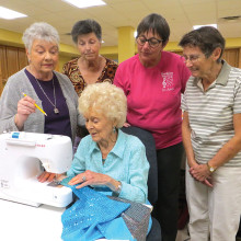 Pictured (left to right) back row: Sewing Coordinator Pat Stoner, Jese Vaillancourt, Chordaires Vice President Joanne Leonard and Krafters Coordinator Coeta Sanders; seated: Joy Gardner; not pictured: Lorna Snedigar
