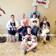 Pictured - row one are Brenda Bauer with Maggie and Molly; row two are Jeni Connor with Minnie, Melissa Skocypec with Lexi, Karen O'Reilly with Piper and Tanis May with Abby; row three is Michael O'Reilly