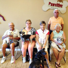 Pictured - row one are Wally Cornelius with Pita, Andrea Hummel with Rosie, Marjorie Wright with Hanna and Loretta Chadderdon with KC; row two is Dennis Chadderdon