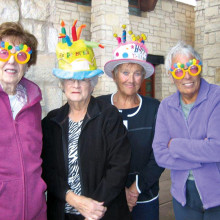 Having lunch and fun celebrating their January birthdays, joined by other Lady Putters friends following their regular Monday game are (left to right) Pat Kruse, Camille Jasien, Lori Becker and Sue Core.