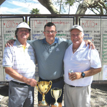 Jerry Davis (left) wins the Club Championship; Davis joins runner-up Jack Hill (right) and Head Club Professional Greg Tokash.