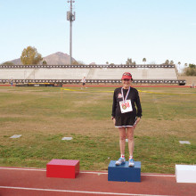 Eva Vogelsang won a Gold Medal in Race Walking in the 1500 meters and in the 5000 meters events. She participated in the 85-89 age group.