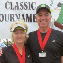 Happy Trails 3.5 Mixed Doubles Silver medal winners Sheila Parkinson and Steve Smitham
