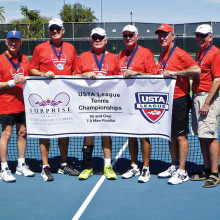 Pictured with their finalist banner are (left to right), Zev Yardeni, Gary Porter, Jim Utter, Ken Stanley (captain), Hal Davis, Jerry Rex, Randy McManus and Phil Messer