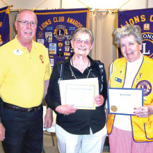 District Governor Lion Larry Palmer, Betty Hollingsworth and Lion Pat Hollander