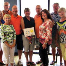 Bright Lights team (left to right) are Bernie and Joe Tighe, Denise and Don Peterson, Roseann and Ernie Soczka, Paddy Newton, Pam Mason and Dick Thomas, Janet and Ron Jackson and Carol McCulley