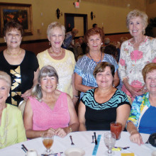 Enjoying the Lady Putters' spring luncheon are front row (left to right) Eleanor Nicolosi, Faith Missildine, Nina Scinto and Fran Schuring; back row (left to right) are Teddy Cole, Lucy Geller, Betsy Wedeward and Alice Bannerman
