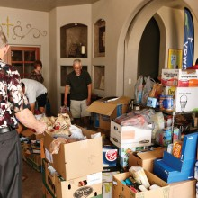 About 25 Risen Savior members gathered to box and move 2.4 tons of donated food from the front of the sanctuary to the entrance of the church for pickup by the Chandler Food Bank. Most of those present were also Sun Lakes residents.