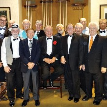 """The start of the tournament had 17 members (players and former Cup Champion) present in their finest, including many with tuxedos which was the suggested event wear. The prior Cup Champion, Rod """"The Babe"""" Thompson (above in the white hat and bow tie) retired from competition and the new Champion, Bill Lange, had his name on the Godfather's Cup plaque and was awarded the first place prize money along with an engraved 8-Ball statuette. The runner-up was Sam Gilman, with Larry """"Cuestick"""" Stadler in third place, and Keith """"The Rabbi"""" McDonald taking fourth place in the race to three wins for the matches played in 8-Ball."""
