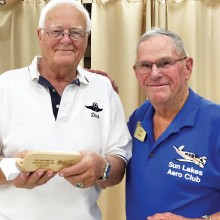 Dick Stich (left) of the Falcon Warbirds formation flying team was guest speaker at the Sun Lakes Aero Club gathering April 20. Here he is shown with Bob Walch, club President.