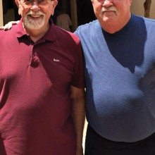 """Rod """"Babe"""" Thompson (left) and Tom """"Pooch"""" Ferris shot their way to the 2014-15 Lucky Shot Pool Club season championships in 9-Ball and 8-Ball, respectively. Photo by Gary Vacin."""