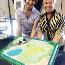 Linda Sparks, left, and Pat Kivi display a colorful cake bidding farewell April 16 to Cottonwood's Lady Niners' snowbirds at the luncheon marking the end of the 2015 season. Sparks and Kivi co-chaired the event.