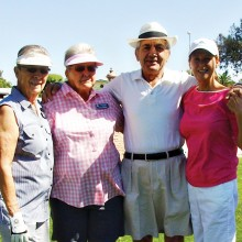 The 1st place team is pictured (left to right) Donna Branscom, Jean Parrish, Val Fazio and Carol Anderson