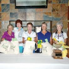 Awards presentations made to (left to right) Sheila Junkermeier, Dottie Holme, Linda Thrash, Shirley Weaver and Elaine Osborn.