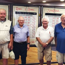 Winning mixed team of the April 16 Home and Home: Adrian Barber and Bud Murray, PVCC and Dave White and Ken Cross of SBCC.