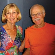 IronOaks Tennis Club President, Judy Gahide, with the club's Volunteer of the Year, John Radcliffe