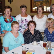 Enjoying the Lady Putters' spring luncheon are front row (left to right) Peggy Clapp, Elaine Dougher and Roxanne Manz; back row (left to right) are Mitzi Iverson, Linda Barber, Margaret Kelly, Terri Sterken and Kathy Rusche.