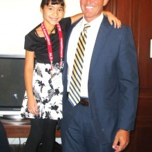 Jaylyn Schmidt, age 8, and Senator Jeff Flake in his office in Washington, D.C. Jaylyn is the granddaughter of Diane Price, a Sun Lakes resident.