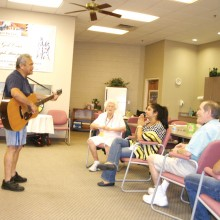 Ron Clavecilla entertains guests at The Perfect Place.