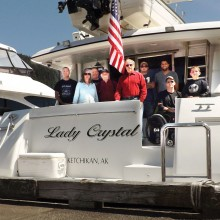 Disabled veterans and support group on the Alaska fishing trip.