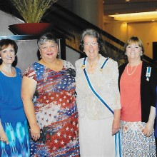 Pictured left to right are Jude Mente, Mitzi Iverson, Lesley Baran, State Regent Gillian Morse, Carole Jones and Jan Hood