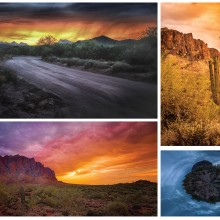 Collage of Superstitions perspectives - how several photographers gathered at the same location created diverse visions. Pictured clockwise from upper left are photos by Janet Ballard, Jan Williams, Dan Dragoon and Jon Berghoff.