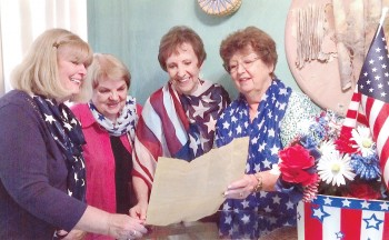Pictured left to right are Marge Nelson, Peg Schultz, Mitzi Iverson and Regent Barbara Hugus