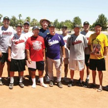 Last year's superstar hitters, flanked by outgoing President Ed Sowney and incoming President Sam Giordano, were (left to right) Steve Hilby, Bill Cheney, Chuck Hamby, Dave Martin, Chuck Myrick, Dick Bleich, Tim Loeffler, Bill Whiteley, Dene Ekholm and Larry Kaufmann.