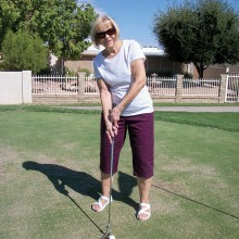On Tuesday, July 21, Verla Matuschka, member of the Sun Lakes 9ers, had 10 putts for nine holes. Congratulations, Verla!