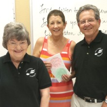 Chorale members Lois Ahrens, MJ Clement and Jim Janowski