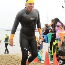 Sun Lakes resident Gary Sanford steps out of the water after completing the 1.5 mile swim from Alcatraz Island to the San Francisco Bay shore August 8.