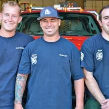 The crew for the Montana deployment from the Sun Lakes Fire Department, left to right: Dave DeGraaf, Martin Lain and Ariel Barr. For Barr, as wild land fire engine boss, it is his second deployment this summer having worked fires in northern California as well. Photo by Brian Curry