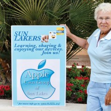 Board member Beverly Schalin of the Apple Users Group of Sun Lakes (AUGSL) invites all Apple users to join AUGSL which meets the second Monday of each month at 6:30 p.m. in the Bradford Room of the IronOaks Country Club in Sun Lakes.