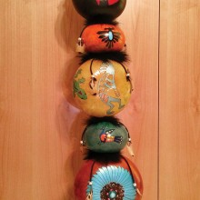 Pat Richards created this southwestern gourd totem.