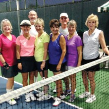 Al Wagner has been teaching skills at his Tennis Boot Camp during the summer on Wednesday and Friday evenings. Recent participants are pictured. First row: Kathy Molitar, Sherri Butler, Susan Aparicio, Adriana Michael, Kristi Thomas and Terri Heichelbech; back row: Bob Heichelbech and Instructor Al Wagner.