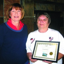 President Jeanine Krause (left) presented the 2015 summer hottie award to Linda Liberti