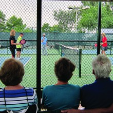 Mary Littlewood and the experts play a demo game at the Sun Lakes Pickleball Club Cottonwood Expo. From left to right on the court are Gigi LeMaster, Ron Robinson, Mary Littlewood, Dianne Zimmerman, Harry Bichierri and Dave Zapatka.