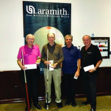 """Sam Gilman, 8-Ball champion; Bill Lange, runner up; Larry """"Cuestick"""" Stadler, third place and Don """"X-Ring"""" Teusaw, fourth place."""