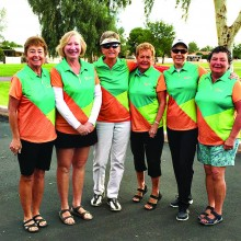 The 18 Holers traveling team from left to right: Karla Carrillo, Mary Oester, Cheryl Reed, Moe Schoenwalder, Nicole Wadley and Marci Koppelmaa