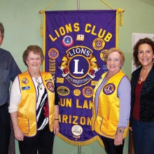 Pictured left to right are Chandler School representative Mr. Jeff LaBenz, Sun Lakes Lion Peace Poster Chair Carolyn Barrans, Vice President Lion Lorna Snedigar and Intel Community Engagement Manager Renee Levin. Intel makes a cash donation to help in the cash awards to the local winners.