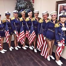 Dancers Anne Fomo, Rae Jean Hennig, Merrie Ellen Bergeth, Veronica Beamer, BeBe Brokop, Suzy Hessman, Carole Hollar, Lorraine Twitchell and Maryann Stevens recently performed a patriotic program.