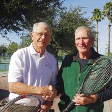 Jack Sanders and Len Paulson competing in the Southwest Adult and Senior Tennis Tournament