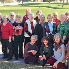 About half of our patch (or club) members are pictured above. We met in December to share some Christmas spirit and exchange some incredible gourd Christmas ornaments.