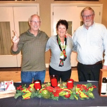 The three door prize winners from left to right are Jim Johnson, Ann Testa and Rich Greffes.