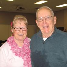 Sun Lakes Duplicate Bridge Club at Oakwood founding members Nancy Espy Martin and Bob Binder.