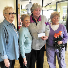 Brenda Icenogle, Betty Peer and Pinky Kubiak present Joan Sisco of Veterans First with a $1,600 check to help with the challenging needs of our women veterans.