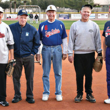 Forever Young: Our 80 plus members include pitcher Billy Kreisman, second sacker Bobby Reeves, pitcher Owen Bae, recreational program director Red Waterfield and field superintendent Larry Delaney. (Photo by Core Photography, LLC).