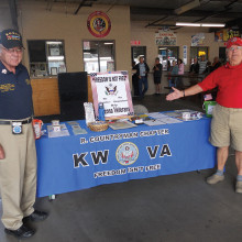 Mick Tucker and Jay Sanderson of the Korean War Veterans Association at a fundraiser in Mesa to generate funds to help support homeless and hospitalized veterans as well as helping to support Neighbors Who Care. v