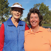 Winning team - Eden Carter, left, and Rachelle Wilson won second place in the 2015 Arizona Women's Golf Association's State Medallion tournament January 17 played at PebbleCreek Golf Resort. Their score of 76 placed third overall with the annual tournament attracting entries from throughout the state.